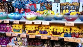 Easter eggs for sale. Portugal, Algarve. Circa 02 03 2018. Easter eggs for sale in a supermarket Royalty Free Stock Photos