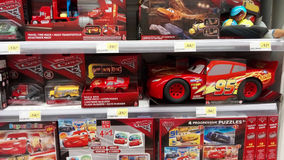 Cars Pixar movie toys. Portugal, Algarve, Circa July 2017. Selection of toys for sale from the Disney movie Cars. On display in a supermarket stock photos