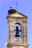 Portugal, Algarve, Faro: Stork on the bell tower stock photo