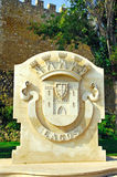 Portugal, Algarve, Lagos: Blazon. Portugal, area of Algarve, Lagos:  Blazon of Lagos city ; blue sky and carved stone representing the city weapons Royalty Free Stock Photos