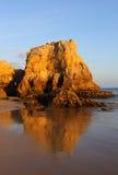 Portugal, Algarve, Portimão, Praia do Vau. Sandy beach and cliffs. Portugal, Algarve, Portimão, Praia do Vau. Deserted pristine sandy beach and eroded stock image