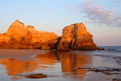 Portugal, Algarve, Portimão, Praia do Vau. Sandy beach and cliffs. Portugal, Algarve, Portimão, Praia do Vau. Deserted pristine sandy beach and eroded royalty free stock image