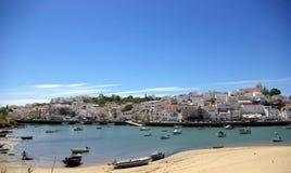 Portugal in Algarve region. Photo of Ferragudo, Portugal in Algarve region stock images