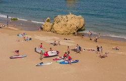 PORTUGAL - APRIL 2017: Group of people prepared to excursion on windSUP in April 17, 2017, located in Lagos, Portugal Royalty Free Stock Image