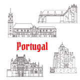 Portugal architecture landmarks vector buildings. Portugal landmarks and Portuguese famous architecture buildings. Vector isolated icons and facades of Convent Royalty Free Stock Photo