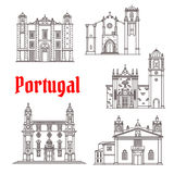 Portugal architecture landmarks vector buildings. Portugal landmarks and Portuguese famous architecture buildings. Vector isolated icons and facades of Santo Royalty Free Stock Photo