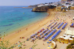 Portugal, area of Algarve, Albufeira: beach. Portugal, area of Algarve, Albufeira: wonderful beach; blue sky, white sand and blue water Stock Photography