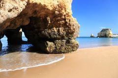 Praia do Pinhao. Portugal Atlantic coast landscape in Algarve region. Praia do Pinhao sandy beach royalty free stock images