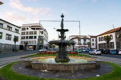 The island`s capital with different monuments canons and old buildings. Portugal Azores Islands Sao Miguel Island historic center of Ponta Delgada royalty free stock image
