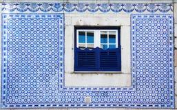 Portugal Azulejo style decor of street window Stock Photo