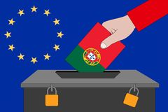 Portugal ballot box for the European elections royalty free stock photo