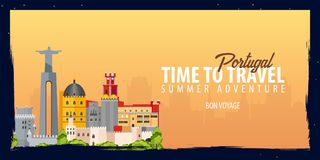 Portugal banner. Time to Travel. Journey, trip and vacation. Vector flat illustration. Portugal banner. Time to Travel. Journey, trip and vacation. Vector flat Stock Photo