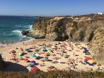 Portugal beach. Beautiful beach cove in Portugal Royalty Free Stock Photos