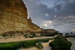 Portugal Beach Series. Along the beach of Praia Porto de Mos in Lagos, Portugal Royalty Free Stock Photos