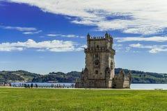 Portugal an Belem-Turm auf dem Tajo stockfoto