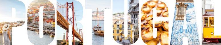 Portugal bokstäver som fylls med bilder från Portugal arkivfoton