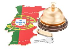 Portugal booking concept. Portuguese flag with hotel key and rec. Eption bell Stock Photos