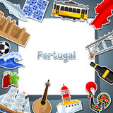Portugal card with stickers. Portuguese national traditional symbols and objects Royalty Free Stock Photography