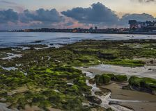 Portugal , Cascais. Atlantic coastal strip, evening. Royalty Free Stock Images