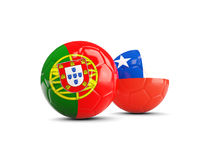 Portugal and Chile soccer balls isolated on white background. 3D illustration Royalty Free Stock Photo