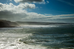 Portugal coast in windy day. Stock Photo