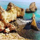 Portugal Coastal Landscape. Amazing colours of sea and cliffs. Portugal Marinha coastal landscape Stock Photo
