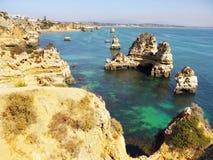 Portugal Coastal Landscape. Amazing colours of sea and cliffs. Portugal Marinha coastal landscape Royalty Free Stock Image