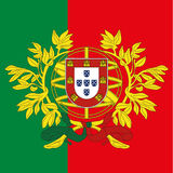 Portugal coat of arm and flag Stock Image