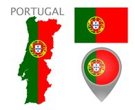 Portugal  flag, map and map pointer stock illustration
