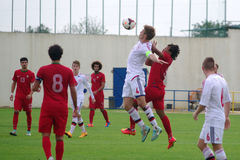Portugal contra Dinamarca (Under-19) Imagens de Stock Royalty Free