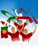 Portugal crowd. Crowd of soccer people fan and three soccer players with scarf and flag Stock Photo