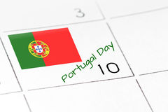 Portugal Day on calendar Royalty Free Stock Image