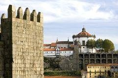City view of Porto with river and historic buildings. Portugal, district and city Porto: Historic buildings on the banks, bank of the Douro River. Left the Royalty Free Stock Image