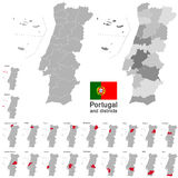 Portugal and districts Stock Images