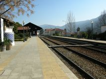 Portugal  Douro the Pinhao train-station of  in the douro-valley Royalty Free Stock Photo