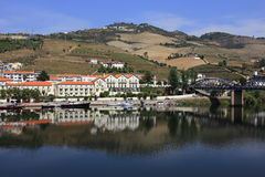 Portugal, Douro Region, Pinhao. Panoramic view of Pinhao overlooking the Douro River. UNESCO World Heritage site. Royalty Free Stock Photography