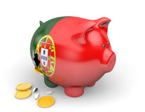 Portugal economy and finance concept for GDP and national debt crisis. Rendered in 3D over a white background Royalty Free Stock Photos