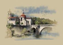 Portugal, el monasterio del sao Goncalo en Amarante, bosquejo de la acuarela Fotografía de archivo