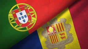 Portugal en Andorra twee vlaggen textieldoek, stoffentextuur stock illustratie