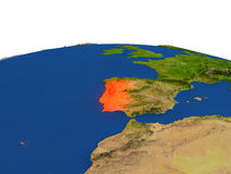 Portugal en rojo de la órbita ilustración del vector