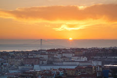 Portugal, Europe - Viewpoint of Lisbon downtown at sunset Royalty Free Stock Photos