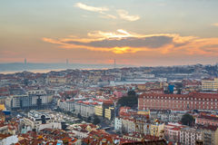 Portugal, Europe - Viewpoint to Lisbon downtown at sunset, with Stock Photos