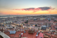 Portugal, Europe - Viewpoint to Lisbon downtown at sunset Stock Photos
