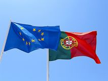 Portugal and European Union Flags Stock Images