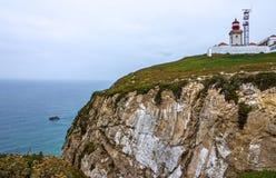 portugal för caboda-fyr roca Mest västra punkt av Europa Fotografering för Bildbyråer