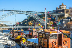 PORTUGAL -  Famous Dom Luis I Bridge at Ribeira in Porto Royalty Free Stock Images