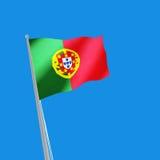 Portugal flag on blue background. 3d illustration. Image of Portugal flag on blue background. 3d illustration Stock Images