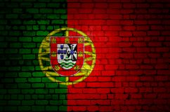 Portugal flag on a brick wall.  stock illustration