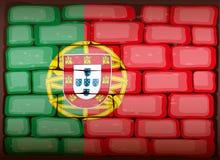 Portugal flag on brickwall. Illustration royalty free illustration