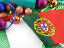 Portugal flag with christmas decoration, new year Stock Photo